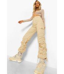 linnen achtige wide leg cargo broek, ecru