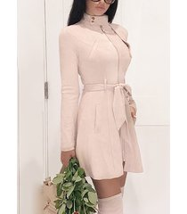 beige zip front stand collar long sleeves suede dress