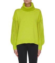 adela' perforated sleeves turtleneck wool sweater