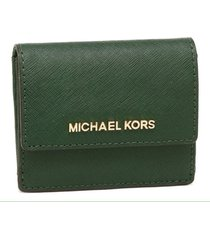 michael kors leather jet set travel card case id key holder in moss nwt