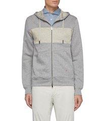 colourblock panel drawstring hood linen cotton blend jacket