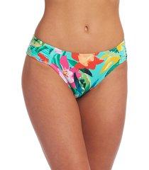 la blanca tropea shirred side bikini bottoms, size 16 in aquamarine at nordstrom