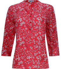 blusa flores manga 3/4 color rojo, talla xs