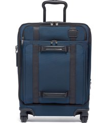 tumi 22-inch front lid recycled wheeled dual access continental carry-on bag - blue
