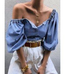 yoins blusa con botones azules en la parte delantera diseño con mangas abullonadas