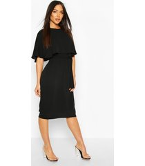 cape belted midi dress, black