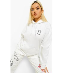 petite oversized smiley hoodie met borstopdruk, white