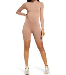 women's naked wardrobe the nw all body long sleeve romper, size x-large - beige