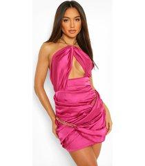 mini wikkel jurk met kettingen en halternek, hot pink
