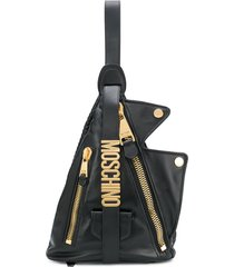 moschino angular sheepskin backpack with gold logo lettering - black
