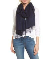 women's nordstrom tissue weight wool & cashmere scarf, size one size - blue