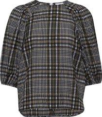 seersucker check blouse lange mouwen ganni
