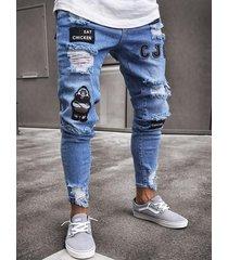 pantalones de corte pitillo con pierna rasgada bordados jeans para hombre