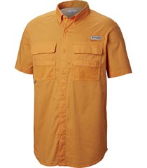 camisa hombre half moon long mc naranja columbia