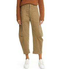 women's nili lotan shon stretch cotton pants, size 8 - green