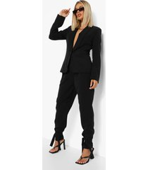 getailleerde blazer met laag decolleté en kraag, black