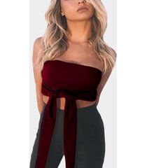 off shoulder tie-front crop top in bergundy