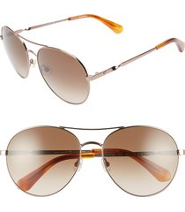 kate spade new york joshelle 60mm aviator sunglasses in gold/dark havana at nordstrom