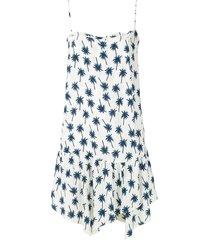 track & field palm print ruffle trim dress - white
