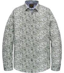pme legend psi201218 6149 long sleeve shirt poplin stretch digital print deep lichen green groen