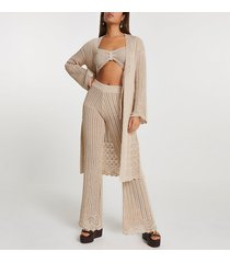 river island womens rose gold crochet tie front knit cardigan