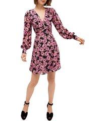 kate spade new york women's floral silk chiffon long-sleeve dress - black - size 6