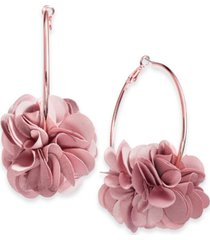 inc fabric flower hoop earrings, created for macy's