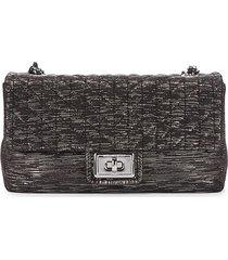 karl lagerfeld paris women's agyness textured shoulder bag - black silver
