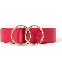 cinturon hebilla doble circulo rojo guinda