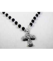 collar plateado diesel piedra volcanica cruz