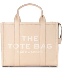 marc jacobs the the leather small traveler tote bag beige