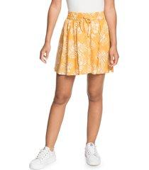 women's roxy said too much miniskirt, size large - yellow