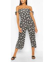 bloemenprint jumpsuit met mouwstrikjes, zwart