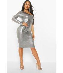 metallic one shoulder midi dress, silver