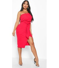 one shoulder batwing midi dress, red