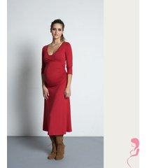 zwangerschapsjurk wrap dress rood