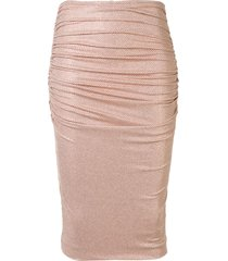 alexandre vauthier ruched pencil skirt - pink