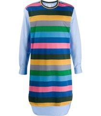 comme des garçons shirt striped tunic shirt - blue