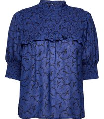 troon blouses short-sleeved blauw munthe