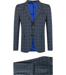 paul smith gents check pattern suit set - blue