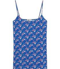 top estampado floral con tiras color azul, talla 8