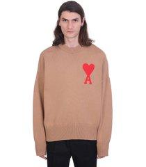 ami alexandre mattiussi ami de coeur sweater knitwear in brown cotton