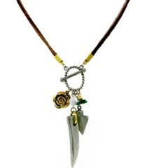 t.r.u. by 1928 pewter gold tone genuine malachite charm rawhide necklace