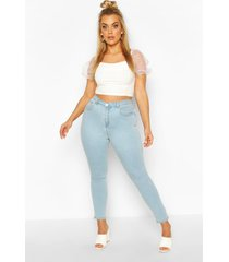 plus high waisted light wash skinny jeans, light blue