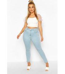 plus high waisted light wash skinny jeans, light blue