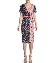 short-sleeve colorblock floral wrap dress