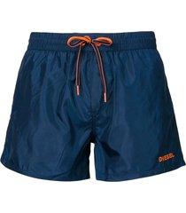 diesel logo embroidered drawstring swim shorts - blue