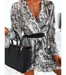 abrigo yoins de piel de serpiente diseño dobladillo con volantes mangas largas vestido