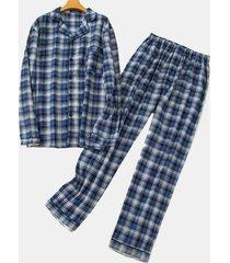 set pigiama da uomo in cotone a maniche lunghe a maniche lunghe da uomo con collo lungo e maniche lunghe