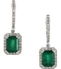 effy women's diamond, natural emerald & 14k white gold dangle & drop earrings